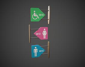 3D model WC Toilet Signs