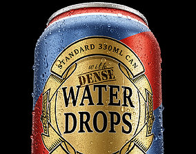 Standard 330ml Can with Dense Water Drops 3D model
