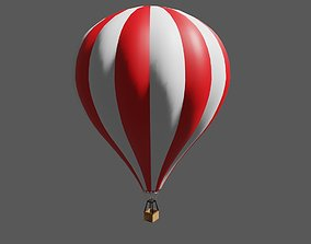 Red Striped Balloon - Balao Vermelho Listrado 3D model