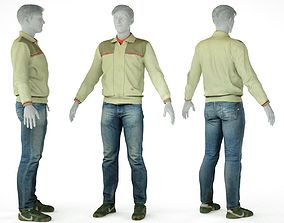 3D model Male Casual Outfit 12 Pull Trousers Footwear
