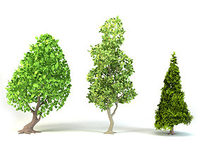 rigged Cartoon Tree Pack Low-poly 3D model