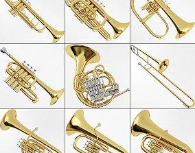 Brass Musical Instrument Collection 3D model
