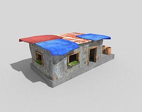 3D asset low poly beach hut 2