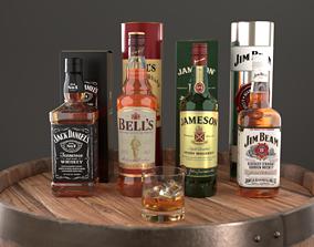 Whiskey Bottle Set1 Blender Cycles 3D model