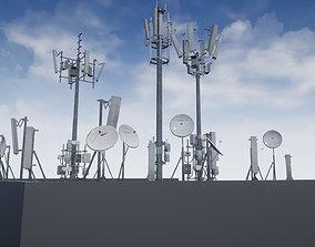 Cellular TV Radio Antenna towers 3D asset