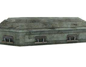 Low Poly Vintage Coffin With PBR Materials 3D asset