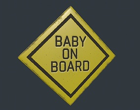 Baby on Board Sign 3D asset