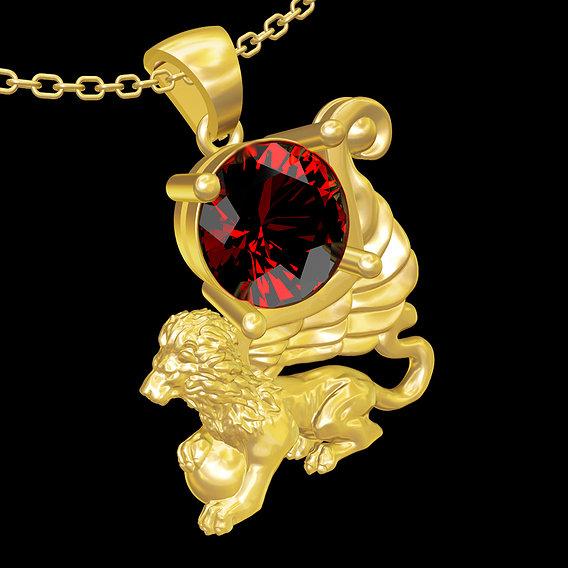 Lion Diamond Sculpture pendant jewelry gold necklace medallion 3D print model