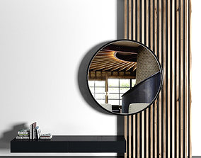 3D Wooden planks and mirror