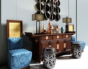 china style console table and chair table lamp display 3D