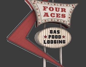 Four Aces Movie Set Sign 3D asset