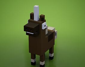Voxel - Brown Unicorn 3D model