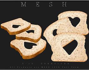 3 Slice of Bread Heart 3D asset