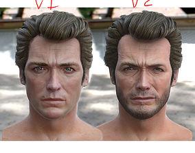 3d model Clint Eastwood head VR / AR ready