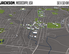 Jackson Mississippi USA 50x50km 3D
