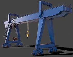 3D model PBR Double Girder Gantry Crane V2 - Blue