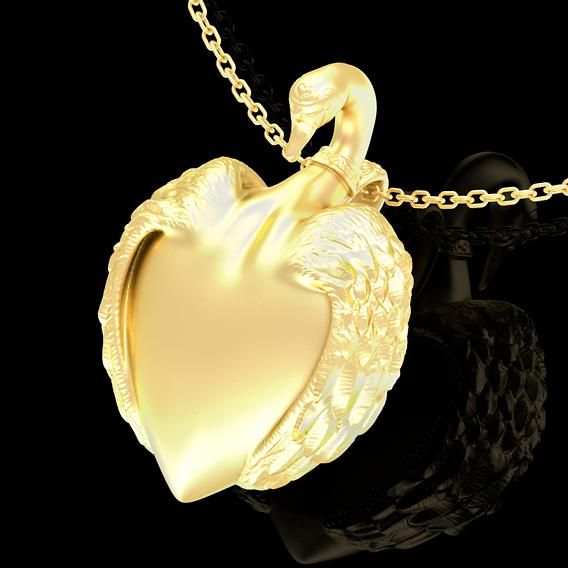 Swan Heart Pendant jewelry Gold 3D print model