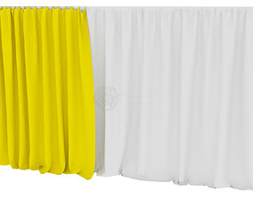 3D model Wide double layered curtains