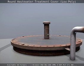 Round Wastewater Treatment Cover Low-Poly 3D asset