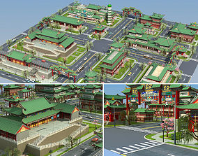 Ancient Chinese building Set 3D asset