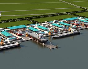 engineering Shipyards 3D model animated