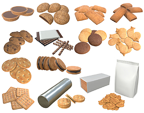3D Cookie package packaged blank mock-up