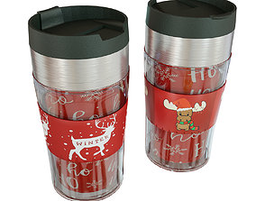 Thermo mug with a deer New Years thermos 3D model