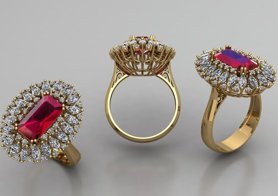 3D Ring Model With Red Ruby , Oval & Marquise Diamonds.