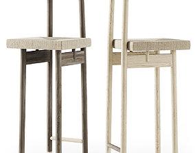 3D Rattan wooden bar stool
