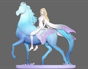 Elsa on horse white dress FROZEN2 disney 3D print model 1