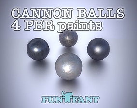 Iron Cannon Ball 4 PBR paints game ready 3D model