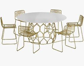 Dining Table Circuit Chair Alpha Brass 3D asset