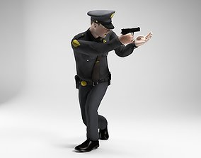 3D asset polieman gun in hand ready to shoot low poly 1