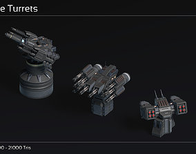 3D asset VR / AR ready Scifi Turret Collection II