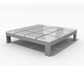 Silver Greyish Square Table 3D