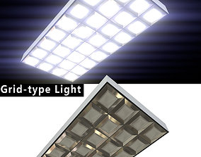 Fluorescent Light - grid-type - PBR Game-Ready 3D model