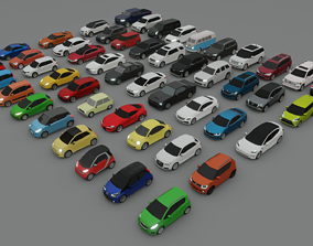 low-poly collection of 50 low poly cars 3D models
