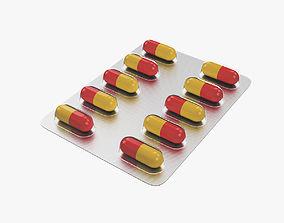 Pills in blister pack 3D model