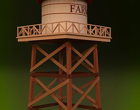 Cartoon Water Tower 3D model