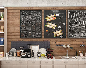 Coffee Shop and Food Take Away Showcases 3D