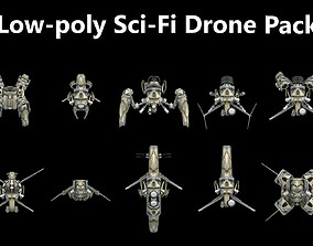3D asset Pack of Sci-Fi Futuristic Weaponized Drones