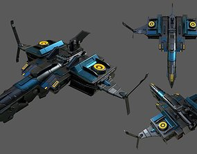 3D asset Spaceship Commander Starship combat low poly 1