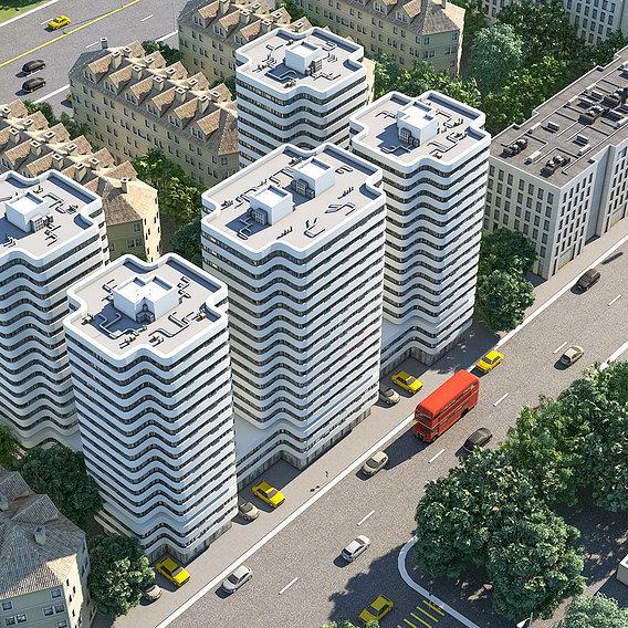 Building modern style   exterior scene