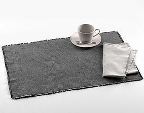 3D model Maya Placemat with Napkin and Tea Cup