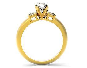 3 Stones Engagement Ring 01 3D printable model