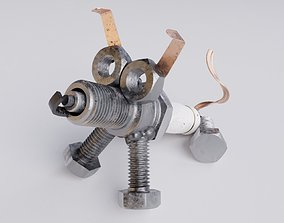 Decor dog from spark plug and bolts 3D model