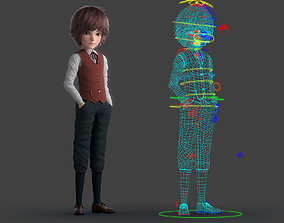 3D model man Cartoon Boy Rigged