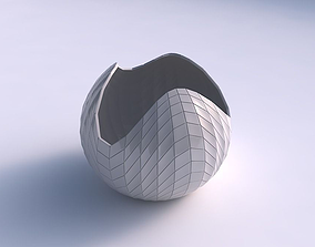 Bowl Spheric wavy with wavy grid plates 3D printable model