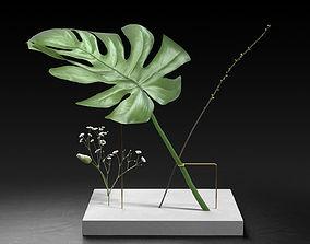 3D model Postures Vase with Monstera