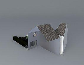 Stepped rear garden with summerhouse 3D